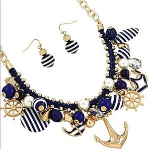 Nautical Charm Necklace Anchor Ships Wheel Pearls